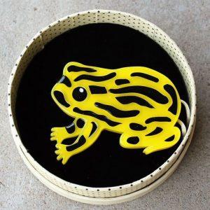 Erstwilder Brooch – Tiny Toxic Tim (Corroboree Frog)