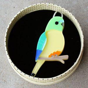 Erstwilder Brooch – Radiant Rambler Parrot (Orange Bellied Parrot)