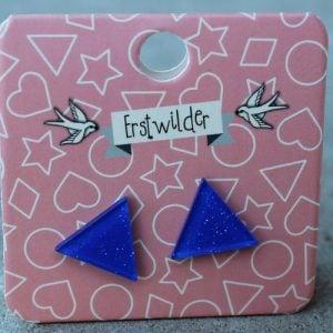 Erstwilder Earrings – Triangle Electric Blue Sparkle