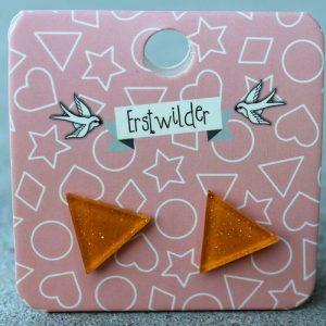 Erstwilder Earrings – Triangle Orange Sparkle