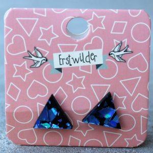 Erstwilder Earrings – Triangle Sapphire Blue Glitter