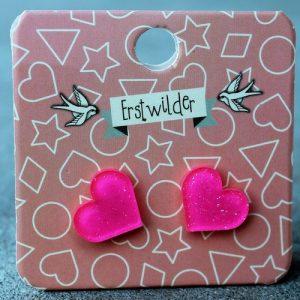 Erstwilder Earrings – Heart Hot Pink Sparkle