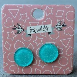 Erstwilder Earrings – Round Aqua Blue Sparkle