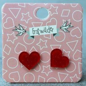 Erstwilder Earrings – Heart Red Sparkle