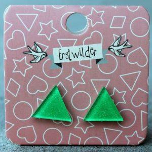 Erstwilder Earrings – Triangle Apple Green Sparkle