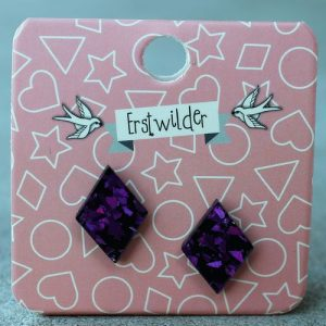 Erstwilder Earrings – Diamond Purple Glitter