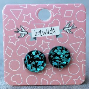Erstwilder Earrings – Round Aqua Blue Glitter