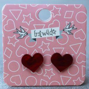 Erstwilder Earrings – Heart Red Swirl