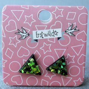 Erstwilder Earrings – Triangle Green Glitter