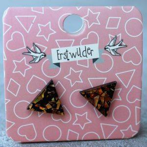 Erstwilder Earrings – Triangle Orange Glitter