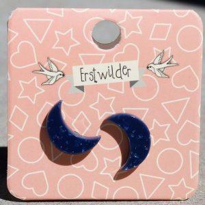Erstwilder Earrings – Crescent Moon Midnight Blue