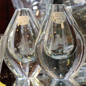 Orefors Crystal Vase Pair