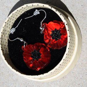 Erstwilder Earrings – Poppy Field Drop (Red)