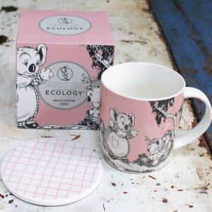 Bone China Mug & Coaster – Blinky Bill Pink