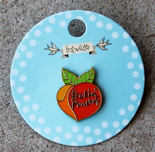 morpeth antique centre hunter valley erstwilder enamel pin feelin' feeling peachy peach brooch retro collectable pin up
