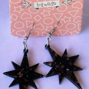 Erstwilder Drop Earrings – Starburst Glitter Black