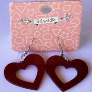Erstwilder Drop Earrings – Heart Red