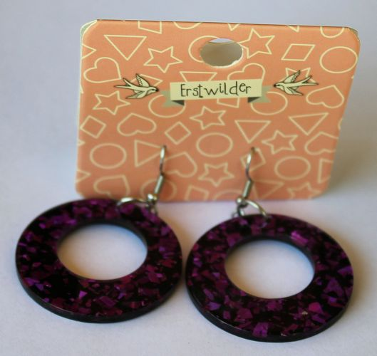 morpeth antique centre hunter valley erstwilder earrings brooch necklace circle purple glitter retro collectable pin up