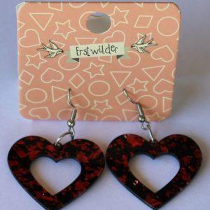 Erstwilder Drop Earrings – Heart Glitter Red