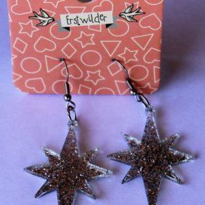 Erstwilder Drop Earrings – Starburst Sparkle Silver