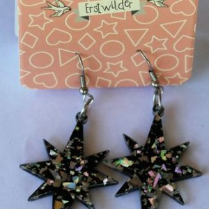 Erstwilder Drop Earrings – Starburst Glitter Silver