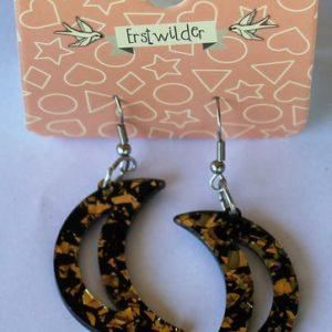 Erstwilder Drop Earrings – Crescent Moon Glitter Gold