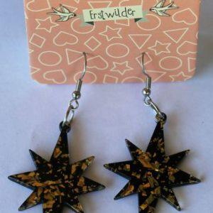 Erstwilder Drop Earrings – Starburst Glitter Gold