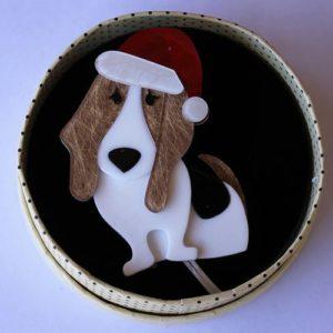 Erstwilder Brooch – Barney's First Christmas (Dog)