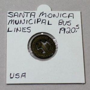 Santa Monica Municipal Bus Lines 1 Zone Fare Token