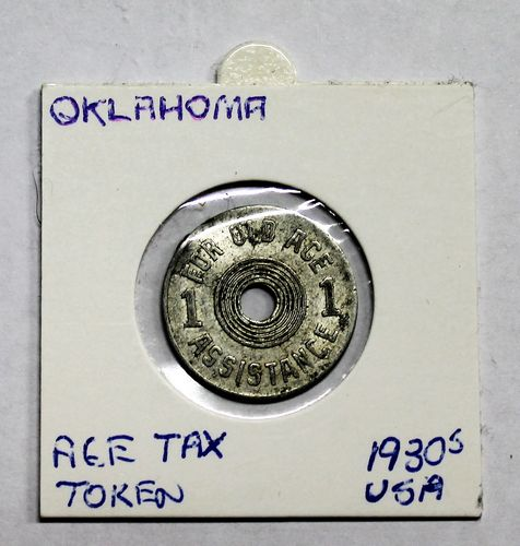 morpeth antique centre hunter valley age tax token coin depression 1930 USA Oklahoma old assistance