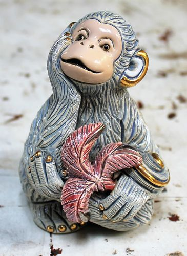 morpeth gift gallery hunter valley rinconada figurine de rosa uraguay pottery ceramic enamel gold gilded monkey adult baby mini collectable