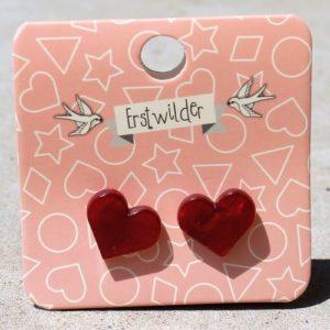 Erstwilder Earrings – Heart Studs Red