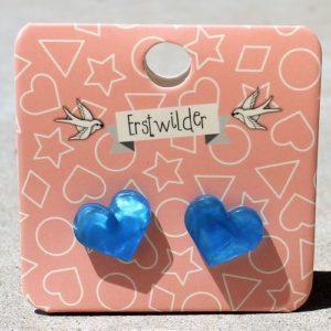 Erstwilder Earrings – Heart Studs Sky Blue