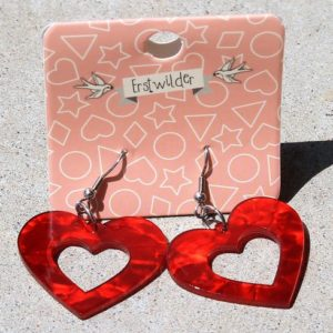 Erstwilder Earrings – Heart Drop Red