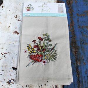 Australian Native Floral Teatowel (embroidered)