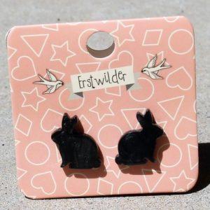 Erstwilder Earrings – Bunny Black Stud