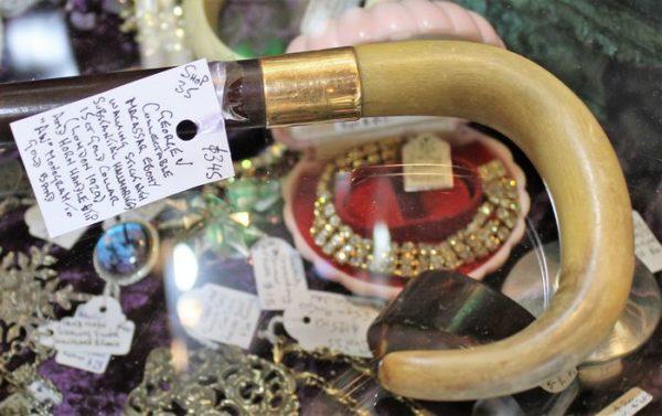 morpeth antique centre hunter valley george v walking stick macassar ebony horn gold collar hallmarked london 1929