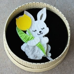Erstwilder Brooch – Junior & His Tulip (Rabbit)