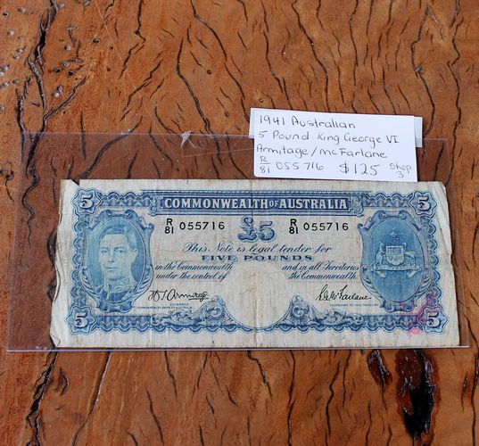 morpeth antique centre hunter valley coins banknotes five pound king george VI dollar coin currency australian decimal pre old new mint royal