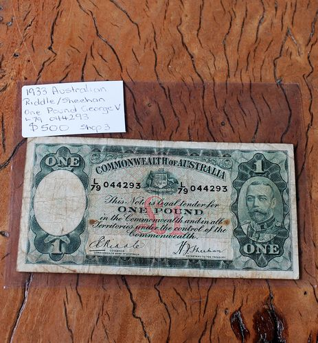 morpeth antique centre hunter valley coins banknotes one pound king george V dollar coin currency australian decimal pre old new mint royal