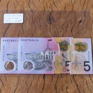 Australian Five Dollar Note First & Last Prefix Pair