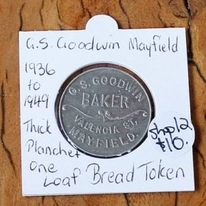 morpeth antique centre hunter valley royal australian mint coin banknote bread token numismatic newcastle one loaf g.s goodwin mayfield thick planchet