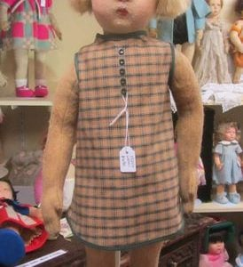 Girl Doll 1920s Lenci with new brown/green dress