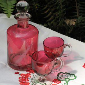 Ruby Glass Bottle & Cups