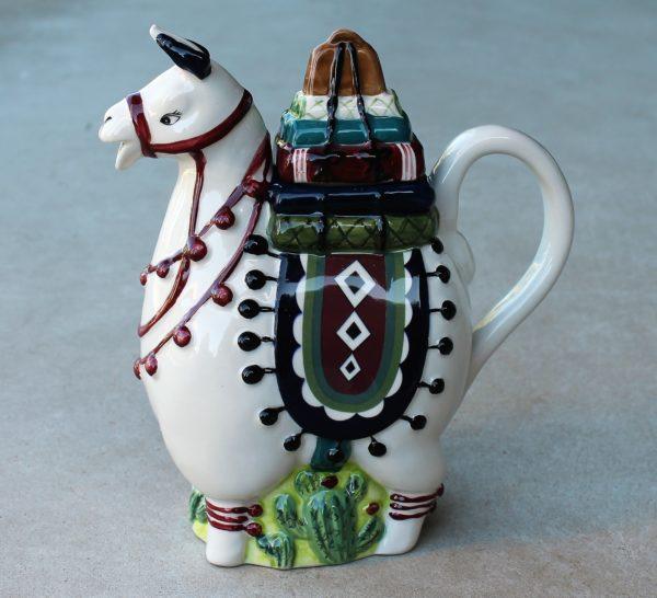 morpeth gift gallery hunter valley novelty teapot blue sky llama alpaca ceramic hand painted cacti peru