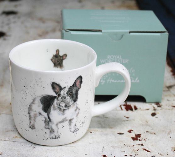 morpeth gift gallery hunter valley french bull dog wrendale royal worcester fine bone china mug coffee tea hot chocolate .31 litre 11 oz ounce