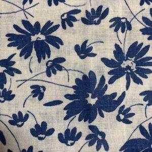 Feed Sack Vintage Fabric – white, navy flowers