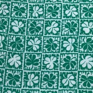 Feed Sack Vintage Fabric – green & white squares with leaves