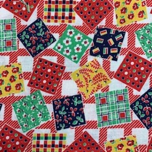 Feed Sack Vintage Fabric – red,blue,green,yellow,squares