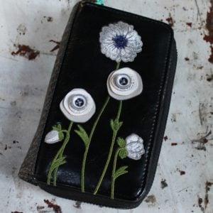 White Poppy Zip Around Wallet Medium